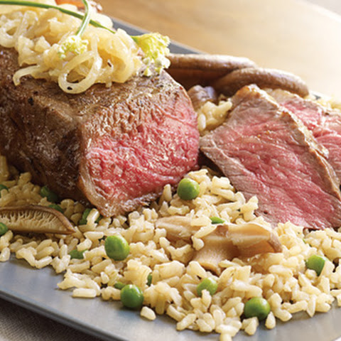 Brown Rice with Savory Shiitake Mushrooms and Sesame Grilled Strip Steaks