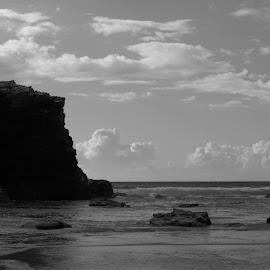 Cathedral's beach by Daniel Fernández-Ruiz - Landscapes Caves & Formations ( black and white, calmness, ocean, rock, beach, formation )