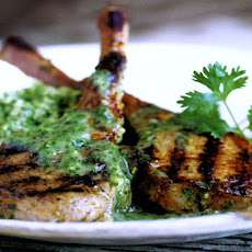 Grilled Lamb Chops with Cilantro Mint Sauce Recipe