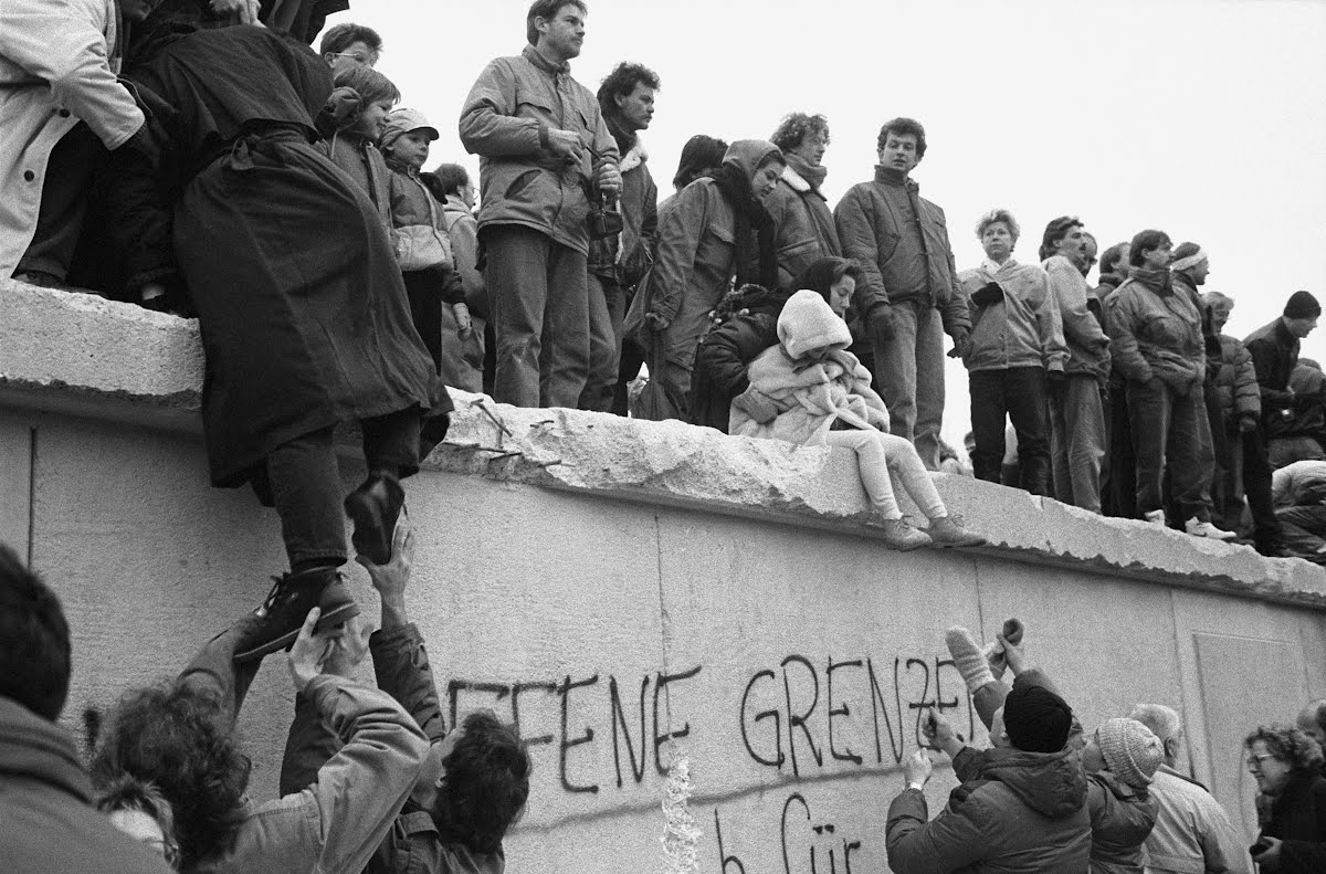 East Berliners celebrate the end of the city's partition on 31st of December 1989