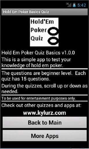 Hold Em Poker Quiz - Basics