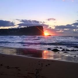 Double Sunrise by Kamila Romanowska - Instagram & Mobile Other ( reflection, australia, ocean, beach, sunrise, morning, sun, sydney )