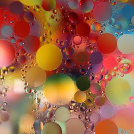 Oil Colors by Janet Herman - Abstract Macro ( water, abstract, oil colors, macro, colors, ellipses, floating spheres )