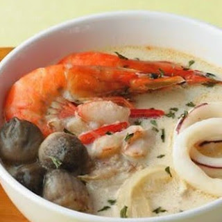 Mushroom Soup With Seafood