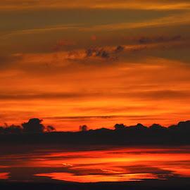 Clouds on Fire by James Gilliver - Landscapes Sunsets & Sunrises ( sunset, cloudscape )
