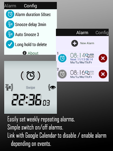 Alarm for Android Wear - screenshot