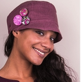 Soft silk hat with button corsage