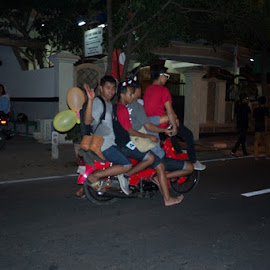 over all by TheGan Ijo - People Street & Candids ( motorcycle, balloon, people )