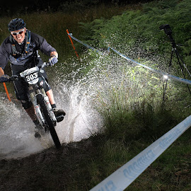 Making a splash by Turnip Towers - Sports & Fitness Cycling ( water, cyclist, splash, cycling, mountain bike, race )