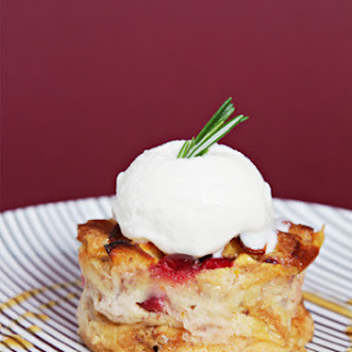 Apple-Cranberry Bread Puddings with Rosemary Gelato and Cider-Calvados Reduction