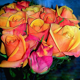 by Dipali S - Digital Art Things ( nature, flora, digital manipulation, digital art, roses, oranges, digital painting, flower )