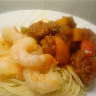 Spicy Italian Sausage, Prawns and Peppers