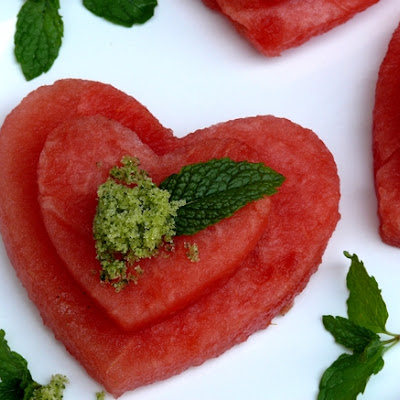 Watermelon Heart Stacks with Minted Sugar