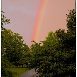 The rainbow at the end of my driveway by Kevin Elwell - Landscapes Weather