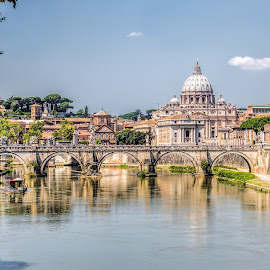 St. Peters, Rome by Vibeke Friis - Buildings & Architecture Public & Historical ( st. peter's basilica, bridge, river,  )