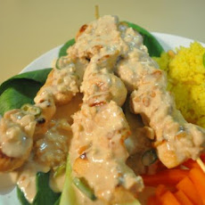 Crocodile or Chicken Skewers With Cashew Nut Satay