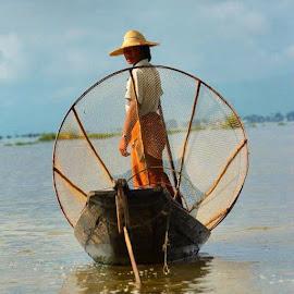 Fisher woman on Inle Lake, Burma by Anna Mitchell - People Body Art/Tattoos (  )