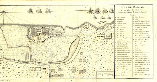 Louis Paradis de la Roche  <b>Chennai (formerly Madras), Tamil Nadu</b> 1758. Copper engraving, 16.4 x 32.2 cm.  A printed edition of Louis Paradis de la Roche's plan of the Fall of Madras, providing context to the accompanying manuscript map.   This printed version of Louis Paradis de la Roche's map was engraved for Jacques-Nicolas Bellin and appeared in Abbé Prévost's Histoire générale des voyages (Paris, 1758), a popular book on global exploration and colonial affairs.  It explains the operations leading to the Fall of Madras in September 1746. The 'Renvoy' (Reference) on the printed map identifies 51 key aspects of the action (lettered A to Z to identify sites in Madras, while those lettered a to x identify aspects of the attacking French forces). These include: A) Fort St. George; B) The Governor's House; F) the powder magazine; M) the 'Ville Noir' (the part of the city inhabited by Indians, partially destroyed by French artillery); V) the houses of the British residents; and Y) houses intentionally burnt by the British prior to the French siege.