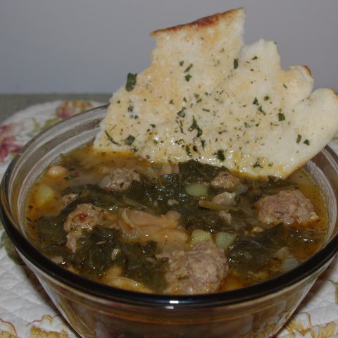 Italian Bean And Greens Soup With Mini Meatballs And Herbed Flatbread