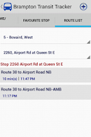 Screenshot of Brampton Transit Tracker