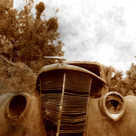 sad man by David Ubach - Transportation Automobiles ( car, sepia, old, old photo effect, auto, junk yard, antique )
