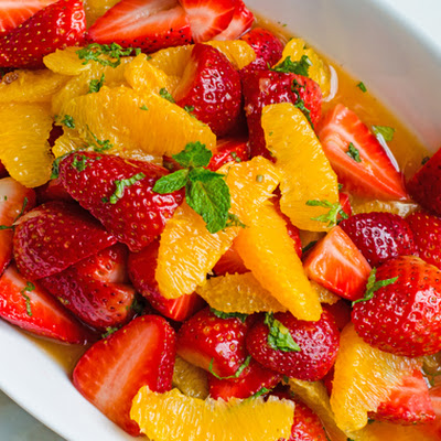 Strawberry and Orange Salad with Citrus Syrup and Fresh Mint