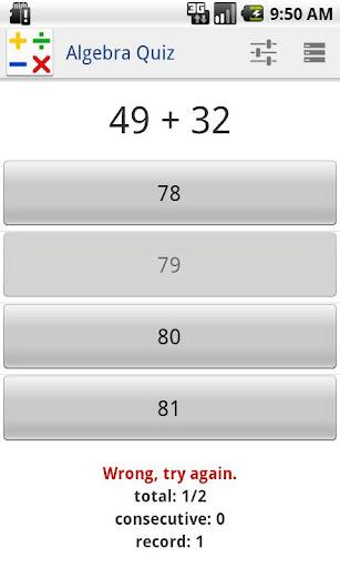 玩教育App|Algebra Quiz免費|APP試玩