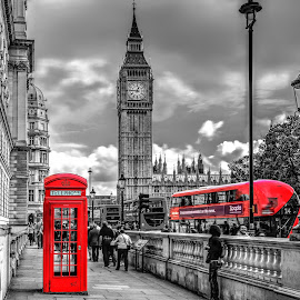 Big Ben by Lukas Proszowski - City,  Street & Park  Historic Districts ( car, landmark, tower, bus, iconic, london, black and white, street, big ben, telephone, city, selective color, pwc,  )