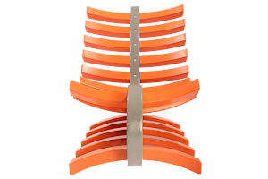 Front View of The Luna Lounger Chair - Finished in a Grey & Vibrant Orange Paint.