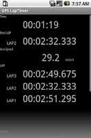 Screenshot of GPS LapTimer