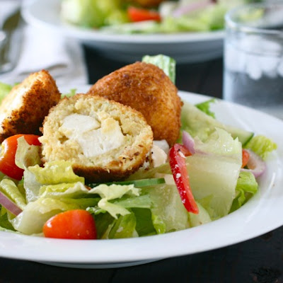 Greek Salad with Chicken Feta Croquettes