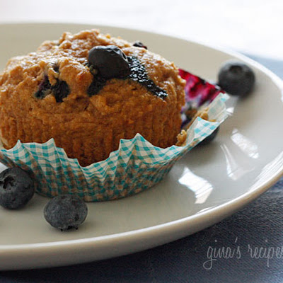 Low Fat Whole Wheat Blueberry Muffins