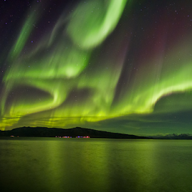 An Autumn Night by Ann-Kristin Heimly - Landscapes Waterscapes ( aurora borealis, sea, night, light, norway,  )