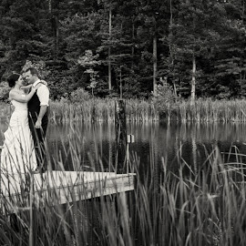 K&S by Julie Steinberg - Wedding Bride & Groom ( water, black and white, wedding, lake, bride, groom, dock, Wedding, Weddings, Marriage )