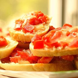 Bruschetta by Simona David - Food & Drink Fruits & Vegetables ( bruschetta, oven, bread, fresh food, baked, tomatoes, fresh home made food,  )