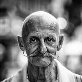 Captain Moustache by Ian Pettigrew - People Portraits of Men ( bw, bald, moustache, man, portrait )