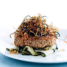 Sesame Tuna Burgers with Fried Shoestring Zucchini