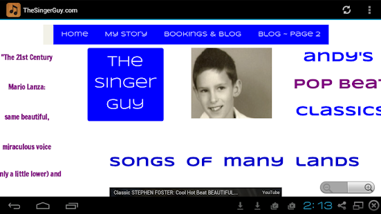 TheSingerGuy.com - screenshot