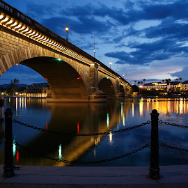 London Bridge by Gannon McGhee - Buildings & Architecture Bridges & Suspended Structures ( havasu, london, blue, arizona, night, lake, hour, bridge, city )