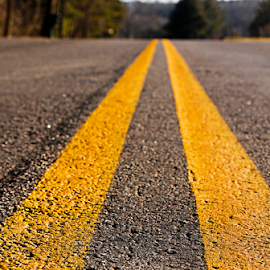 On My Way by Susan Farris - Transportation Roads ( hardtop, lines, travel, road, yellow, pavement )