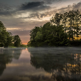 Tranquilité by Shooting Wild - Landscapes Waterscapes ( canon, sunset, 60d, uppsala, lake )