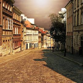 Downhill street  by Piotr Owczarzak - City,  Street & Park  Street Scenes ( street, old city, town, warsaw, poland,  )