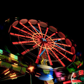 Amusement Park by Bogdan Ionescu - City,  Street & Park  Amusement Parks ( park scene, lights, park, amusement park, colors, street, long exposure, street photography )