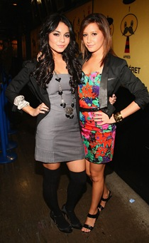 "Vanessa Hudgens and Ashley Tisdale visit MTV's ""TRL"" at MTV stud"