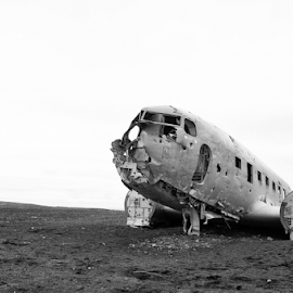 landed by Luca Paramidani - Transportation Airplanes ( dakota, iceland, b&w, airplane, landed )
