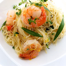 Capellini with Olive Oil Poached Shrimp, Fresh Herbs & Lemon