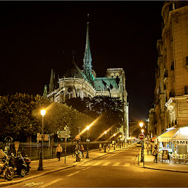 Esmeralda by Maricha Knight van Heerden - City,  Street & Park  Night ( lights, paris, natural light, streetscene, notre dame, handheld, nighttime, cafe, restaurant, left bank, people )