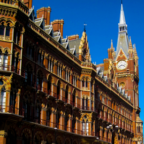 St. Pancras by Del Candler - Buildings & Architecture Public & Historical ( tower, st. pancras, london, clock, station, railroad, camdentown, red brick,  )