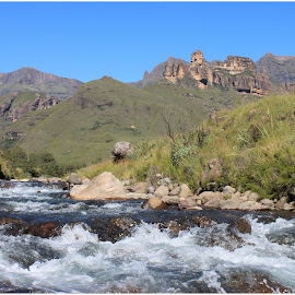 Drakensberg by Dirk Luus - Landscapes Mountains & Hills ( mountains, valley, drakensberg, landscape, river )