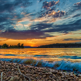 Last Peek by Michael Buffington - Landscapes Waterscapes ( water, nature, beaver lake, lake, arkansas )